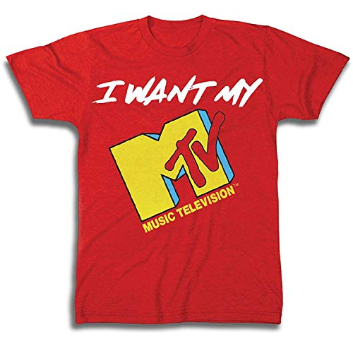 MTV Mens Shirt with Vans Checkerboard - #TBT Mens 1980's Clothing - I Want My T-Shirt (Red, Large)