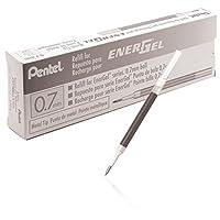Tinta de relleno de Pentel para pluma de gel líquido EnerGel BL57 /BL77, caja de 12, 0.7 mm, punta metálica, tinta negra (LR7-A-12)