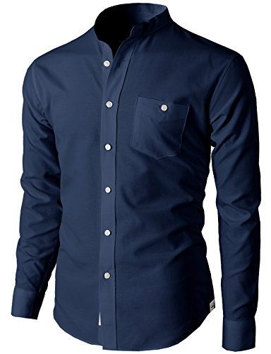 H2H Men's Active Slim Fit Oxford Mandarin Collar Button-Down Shirt with Pocket Navy US L/Asia 2XL (KMTSTL0501)