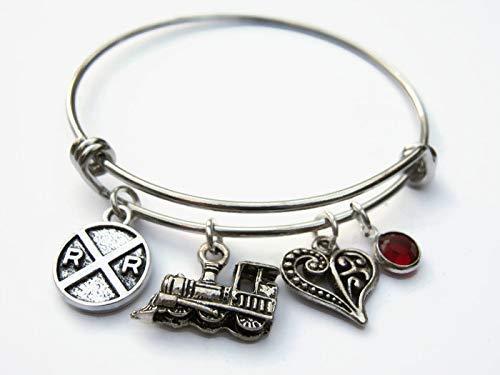 Personalized Railfan Bracelet, Expandable Stainless Steel Bangle Bracelet, Train Lover Jewelry Gift