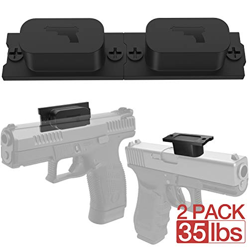 Magnetic Gun Mount & Car Holster 2-Pack 35lbs HQ Rubber Coated Magnetic Gun Mount for Handgun, Shotgun, Pistol. Easy Conceal in Car, Truck, Vehicle, Desks, Safes, Walls