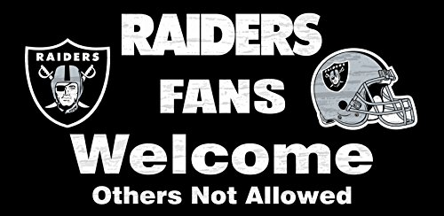 Raiders Wood Sign - Oakland Raiders Wood Sign - Fans Welcome 12x6