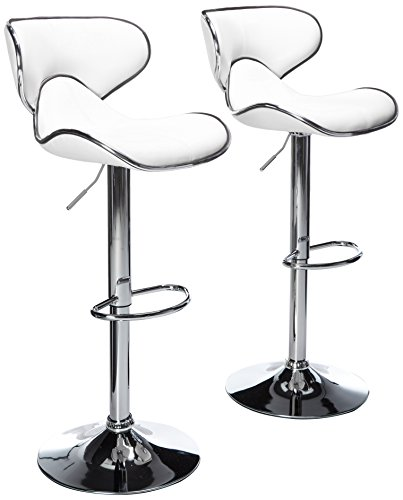 Roundhill Furniture Masaccio Cushioned White Leatherette Upholstery Airlift Swivel Barstool (Set of 2) (Chair Bar Dimensions)