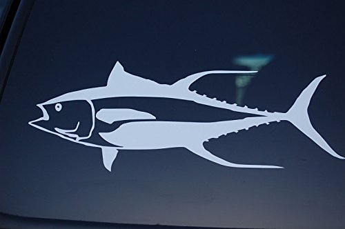 (Fish Sticker Fishing Vinyl Die Cut Decal Yellowfin Tuna Boat Truck Window V141 (White))
