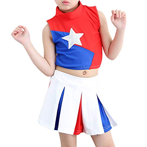 Yudesun Cheerleading Girls Boys Clothing - Pleated Uniform Sport Competition Set]()