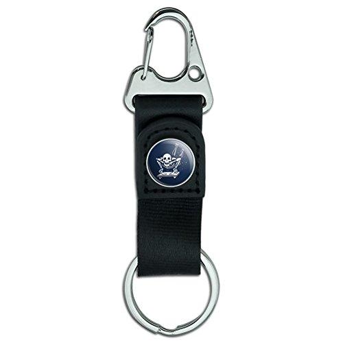 Skeleton Sledding Cresta Sled Winter Sport Belt Clip-On Carabiner Leather Fabric Keychain Key Ring
