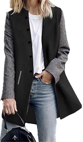 Seul Hiver Hiver Femme Boutonnage Noir Epissure Chaude Manteaux Blouson Longues Veste Couleur Automene YOGLY Manches Coat qEPnxF6