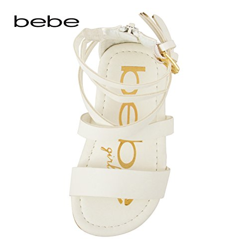 bebe Girls Toddler/Little Kid Wide Strap Flat Gladiator Sandals with Back Zipper and Buckles 9 White by bebe