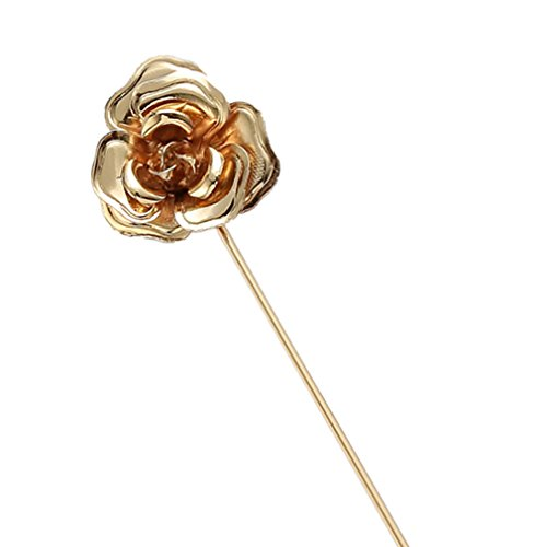 MGStyle Boutonniere Lapel Pin Stick Brooch For Men - 3D Rose Flower - Gold Tone - Alloy ()