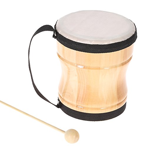 (ammoon Kids Children Wood Hand Bongo Drum Musical Toy Percussion Instrument with Stick Strap)