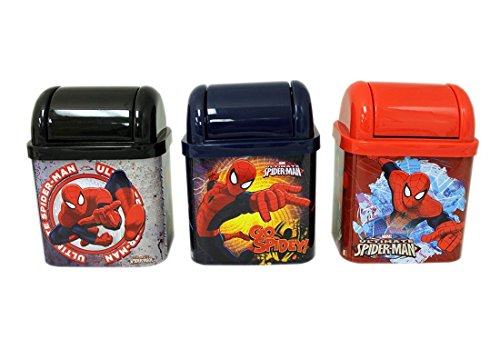 Set (3) Marvel's Spider-Man Flip Lid Desktop Tin / Trash