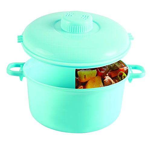 Handy Gourmet Micromaster Pressure Cooker - Cook Hearty Meals in Minutes - 2 1/2 Quart Capacity - Variety of Colors - Recipe Booklet & Measuring Cup Included (Teal)