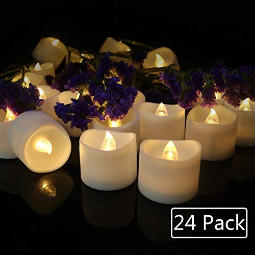 Cozeyat 24pcs Soft Warm White Battery Tea Lights Romantic Flameless LED Candles with Petals for Proposal, Wedding Receptions, Ceremony, Bridal Shower, Dinner Table Setting,Christmas Party Home Decor