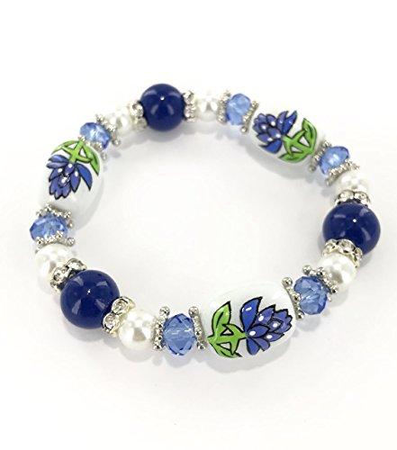 (Bluebonnet Texas State Flower With Rhinestone Beads Stretch Bracelet In Box)
