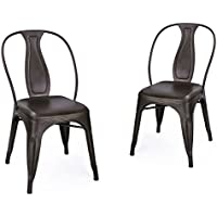 Adeco Metal Stacking Dining Chairs, Vintage Barstool, Black Bronze, Set of 2
