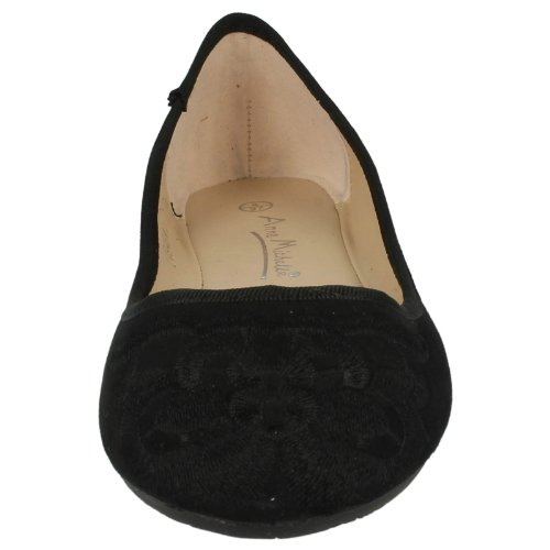 Flat Shoe Ladies Suedette L4946 Casual Black Toe Embroidered Round OvSqX0xv