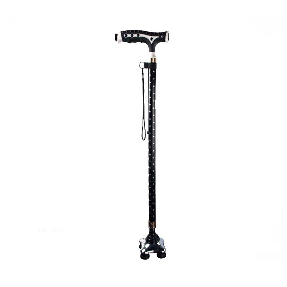 TIAN-Folding cane ältere Crutch Walker ältere cane Vier Füße mit Licht Teleskop Aluminiumlegierung Anti-Schleuder 8c609a