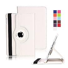iPad Mini 4 Case, Dowswin Auto Sleep/Wake Function 360 Degree Rotating Conjoined Protective Smart Case Cover for iPad Mini 4 (White Case for 2015 Edition)