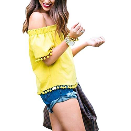 Gadfjuotg T-Shirt a Manica Corta a Colletto Solido Monocolore Casual Yellow