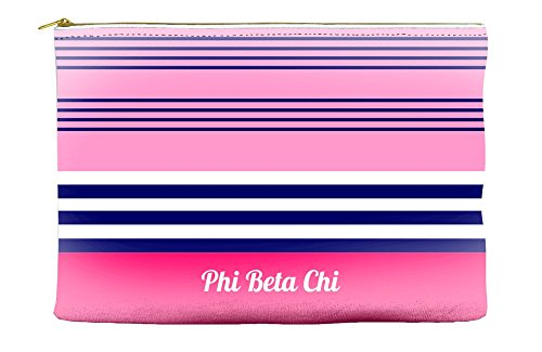 Phi Beta Chi Color Block Pink Cosmetic Accessory Pouch Bag for Makeup Jewelry & other Essentials -  Greek U, pbc-coblockpink-accpch85