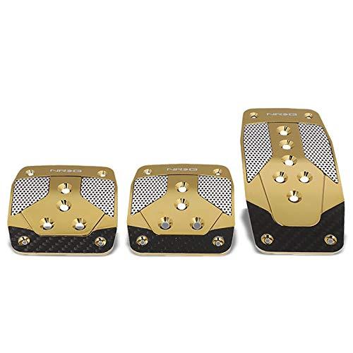 UrMarketOutlet NRG PDL-400CG Brake/Gas/Clutch Manual MT Sport Race Foot Pedal Plates Cover Set (Gold Chrome w/Black Carbon Fiber Trim)