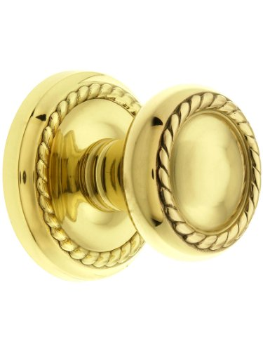 Classic Rope Rosette Set With Matching Rope Door Knobs Privacy In Polished Brass. Doorsets.