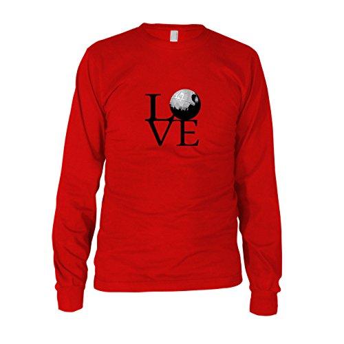 Todesstern Love - Herren Langarm T-Shirt, Größe: L, Farbe: rot