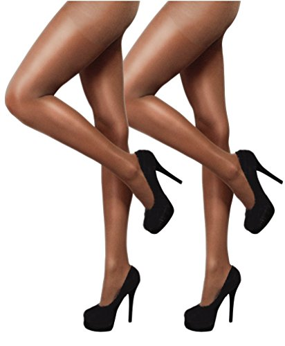 Notes Toast (YENITA 2 Pack Silky Shimmery Dance Tights High Gloss 80 DEN (Medium (EU 38/40), Toast))