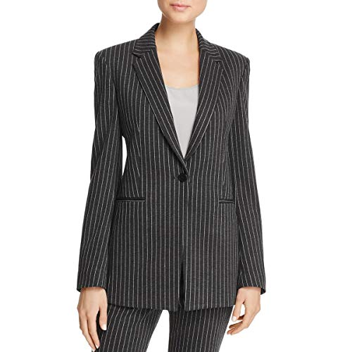 Theory Womens Pinstripe Suit Separate One-Button Blazer Gray 2