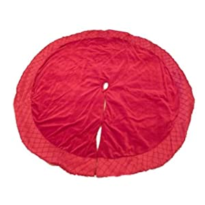 Amazon Com Holiday Time Red Velvet Christmas Tree Skirt With  - Red Velvet Christmas Tree Skirt