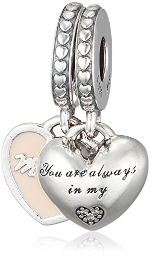 Pandora Mother & Daughter Hearts, Soft Pink Enamel & Clear CZ Charm