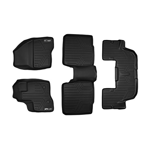 SMARTLINER Floor Mats 3 Row Liner Set Black for 2011-2014 Ford Explorer Without 2nd Row Center Console