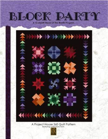 Project House 360 Pattern - BOM or Anytime Quilt - Block Party (Finished Project Size is 72'' x 87'') by Project House 360