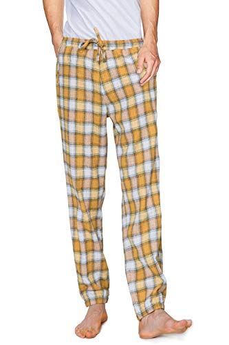 Men's Pajama Pants Plaid Long Bottoms Light Weight Classic Cotton Sleepwear Lounge with Side Pockets