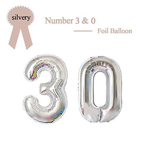 40 Inch Silver 30 Number Foil Balloon 30th Birthday Party Supplies Anniversary Events Graduation Decorations]()