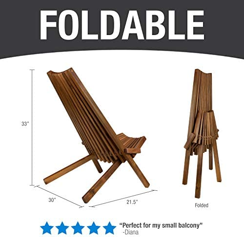 CleverMade Tamarack Folding Wooden Outdoor Chair – Foldable Low Profile Acacia Wood Lounge Chair for the Patio, Porch, Deck, Lawn, Garden or Home Furniture – No Assembly Required