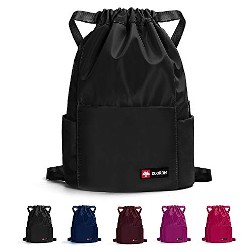 ZOORON Waterproof Drawstring Gym Backpack Bag for Men & Women, Sport Gym Sack Mini Travel Daypack