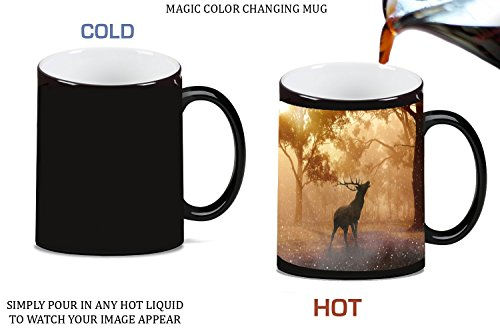 Photo Moonlight (Elk Deer Silhouette in Morning Woods Picture Magic Color Changing Ceramic Coffee Mug Tea Cup by Moonlight Printing)