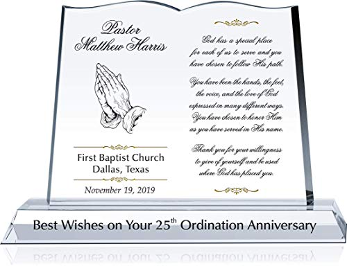- Personalized Crystal Bible Shape Pastor Appreciation Gift Plaque, Customized with Pastor & Church Name, Unique Appreciation for Pastor, Minister, Priest (L - 12