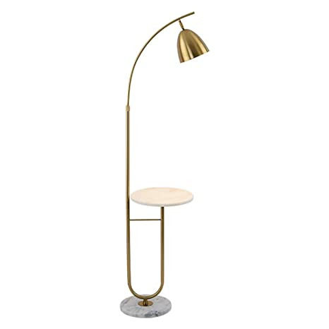 NNIU- Iron Floor Lamp, Height Adjustable Marble Shelf ...
