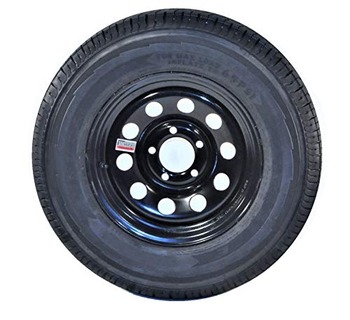 eCustomRim 2-Pk Trailer Tire On Black Wheel Modular Rim ST205/75D15 LRC 5 Lug On 4.5 15 x 5