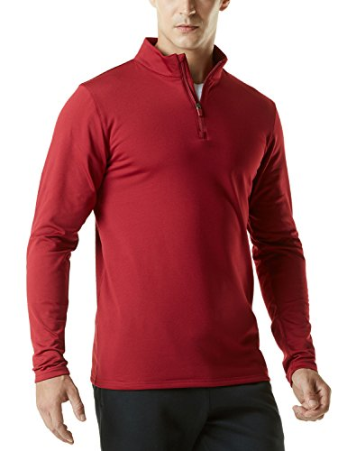 TM-YKZ01-CRR_Medium Tesla Men's Winterwear Sporty Slim Fit 1/4 Zip Fleece Lining Sweatshirt (Half Zip Running Top)