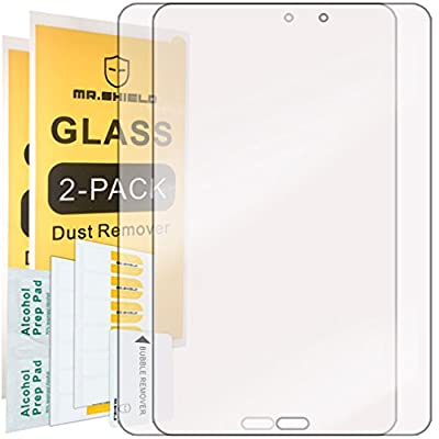 [2-PACK]-Mr Shield For Samsung Galaxy Tab E 8.0 [Tempered Glass] Screen Protector [0.3mm Ultra Thin 9H Hardness 2.5D Round Edge] with Lifetime Replacement Warranty by Mr Shield