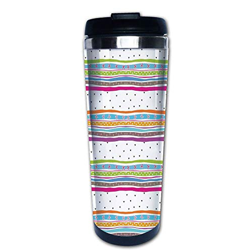 Stainless Steel Insulated Coffee Travel Mug,Polkadots Ribbons Bows and Hearts Girly Patterned,Spill Proof Flip Lid Insulated Coffee cup Keeps Hot or Cold 13.6oz(400 ml) Customizable printing (Dot Cafe Cups K Polka)
