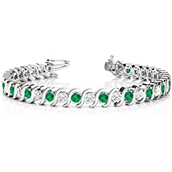 18k Gold Emerald and Diamond Tennis S Link Bracelet