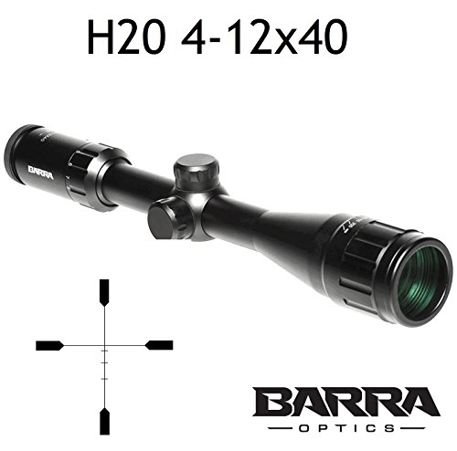 Rifle Scope, Barra H20 4-12x40 BDC Reticle Capped Turrets for Hunting Shooting Precision Deer Hog Venison Varmint