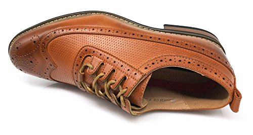 Wooden02N Prince Classic Mens Brown refinement Wingtip Shoes Enzo Oxfords Romeo Perforate Dress BqHwxA715