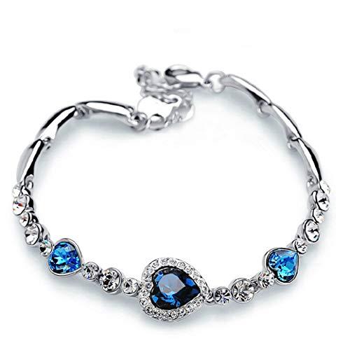 Rurah Womens Zirconia Love Heart Bracelet, Heart Charm Bracelets,fit Gifts for Women Wife Girls