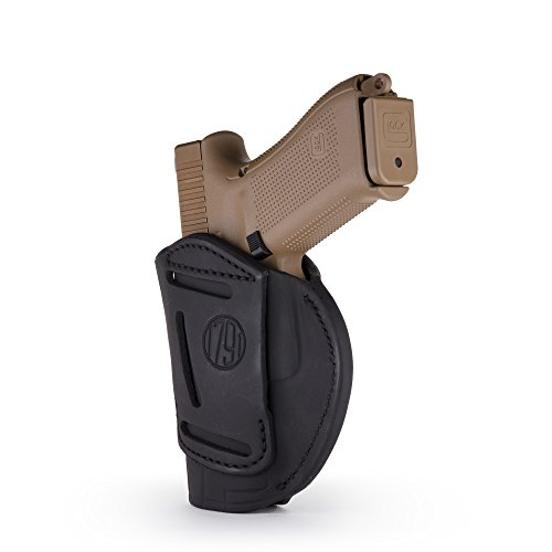 1791 GUNLEATHER 4-Way Glock 19 Holster - OWB and IWB CCW Holster - Right Handed Leather Gun Holster - Fits G19, Beretta 92FS, Springfield XD9 & XD40, G17, 20, 21, 25, 31, 32, 38 (Stealth Black)