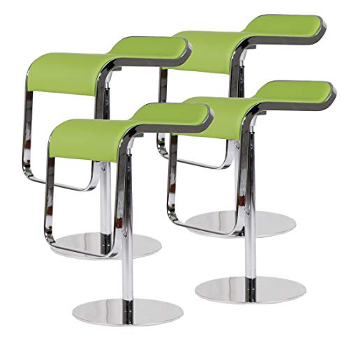 Cheap Emorden Furniture LEM Style Piston Bar Stool. Adjustable (27.2″-33.1″) Smooth Hydraulic Piston. 360¡ã Swivel & Spin Smooth, Green Italian Leather Seat. Sturdy Polished Chrome Steel Frame. (4 Set)